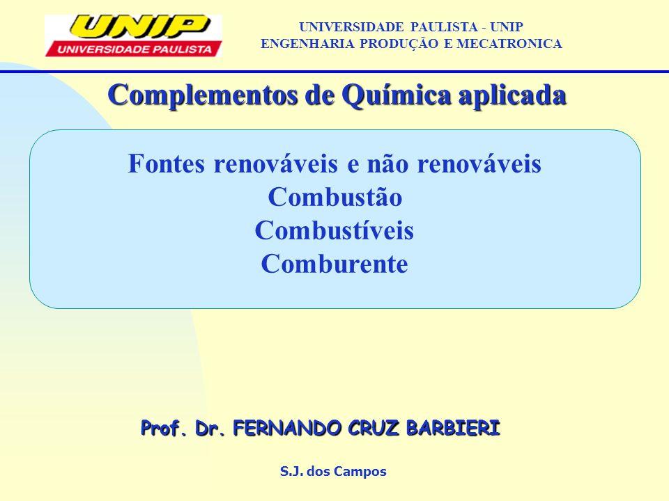Fontes renováveis e não renováveis Combustão Combustíveis Comburente S.J. dos Campos Complementos de Química aplicada Prof. Dr. FERNANDO CRUZ BARBIERI