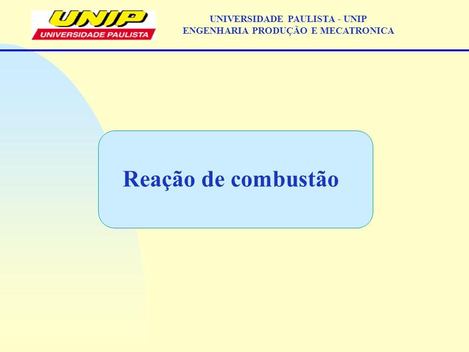 Reação de combustão UNIVERSIDADE PAULISTA - UNIP ENGENHARIA PRODUÇÃO E MECATRONICA