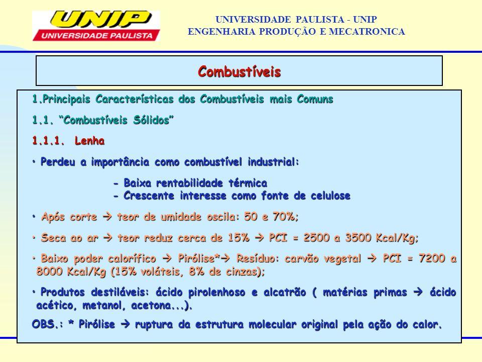 1.Principais Características dos Combustíveis mais Comuns 1.1. Combustíveis Sólidos 1.1.1. Lenha Perdeu a importância como combustível industrial: Per