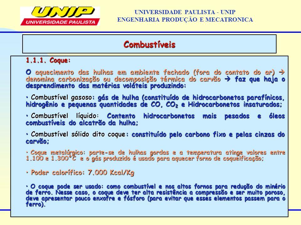 1.1.1. Coque: O aquecimento das hulhas em ambiente fechado (fora do contato do ar) denomina carbonização ou decomposição térmica do carvão faz que haj
