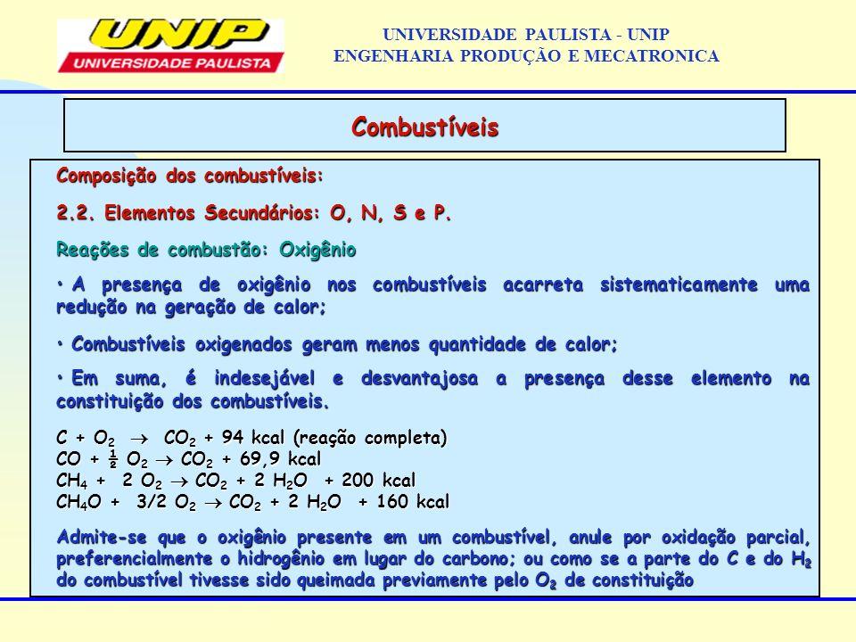 Composição dos combustíveis: 2.2. Elementos Secundários: O, N, S e P. Reações de combustão: Oxigênio A presença de oxigênio nos combustíveis acarreta