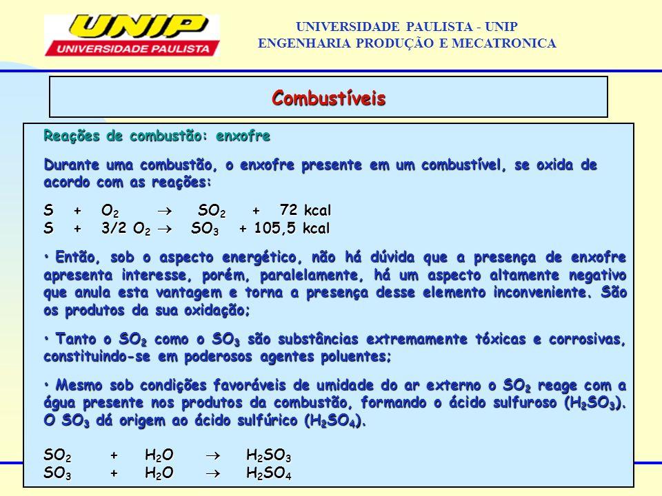 Reações de combustão: enxofre Durante uma combustão, o enxofre presente em um combustível, se oxida de acordo com as reações: S + O 2 SO 2 + 72 kcal S