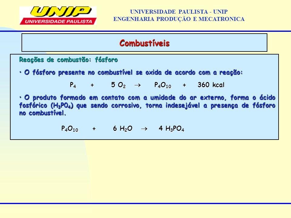Reações de combustão: fósforo O fósforo presente no combustível se oxida de acordo com a reação: O fósforo presente no combustível se oxida de acordo