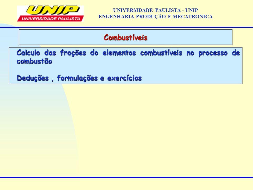 Calculo das frações do elementos combustíveis no processo de combustão Deduções, formulações e exercícios Combustíveis UNIVERSIDADE PAULISTA - UNIP EN