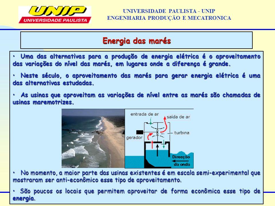 Uma das alternativas para a produção de energia elétrica é o aproveitamento das variações do nível das marés, em lugares onde a diferença é grande. Um
