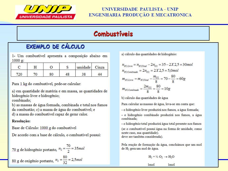 EXEMPLO DE CÁLCULO Combustíveis UNIVERSIDADE PAULISTA - UNIP ENGENHARIA PRODUÇÃO E MECATRONICA