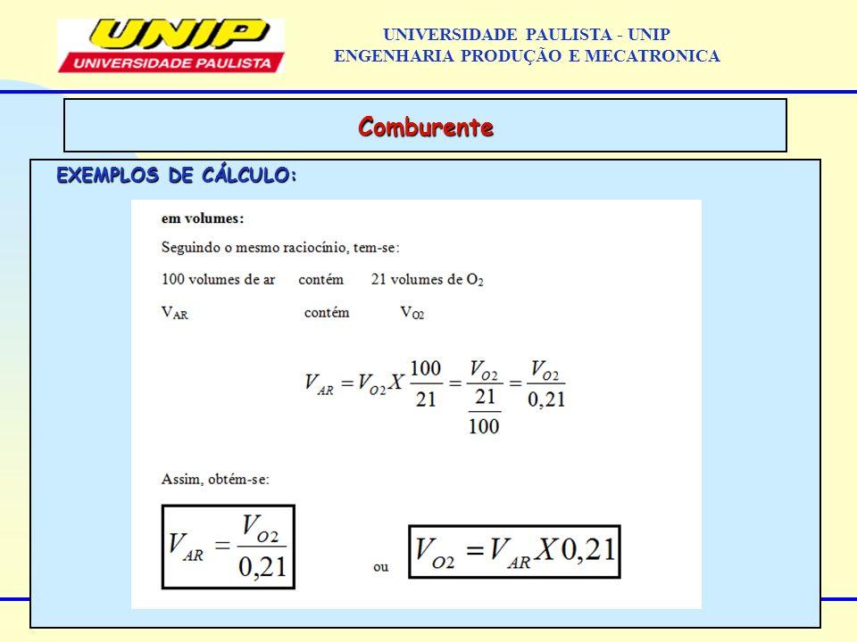 EXEMPLOS DE CÁLCULO: Comburente UNIVERSIDADE PAULISTA - UNIP ENGENHARIA PRODUÇÃO E MECATRONICA