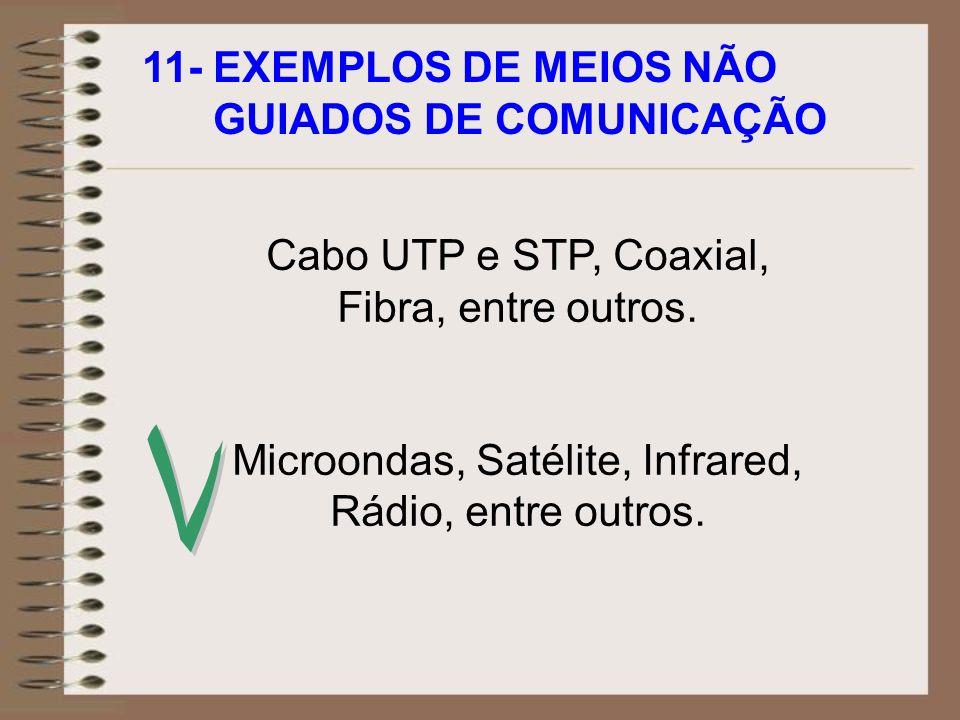 11- EXEMPLOS DE MEIOS NÃO GUIADOS DE COMUNICAÇÃO Cabo UTP e STP, Coaxial, Fibra, entre outros. Microondas, Satélite, Infrared, Rádio, entre outros.