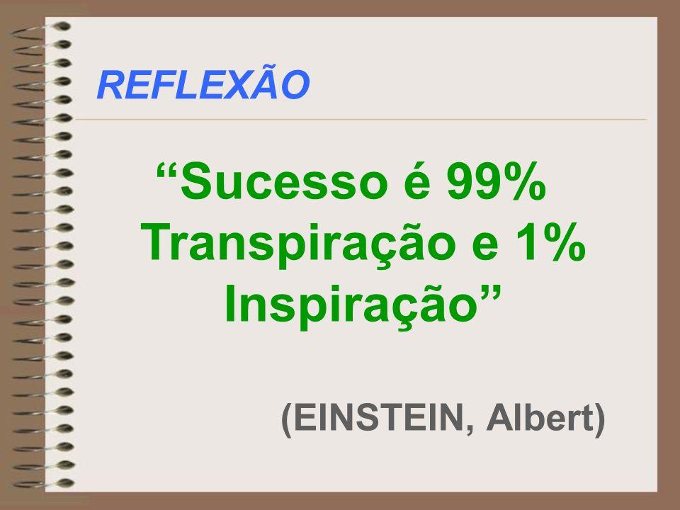REFLEXÃO Sucesso é 99% Transpiração e 1% Inspiração (EINSTEIN, Albert)