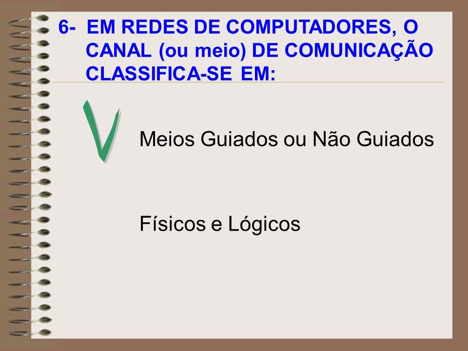 6- EM REDES DE COMPUTADORES, O CANAL (ou meio) DE COMUNICAÇÃO CLASSIFICA-SE EM: Físicos e Lógicos Meios Guiados ou Não Guiados
