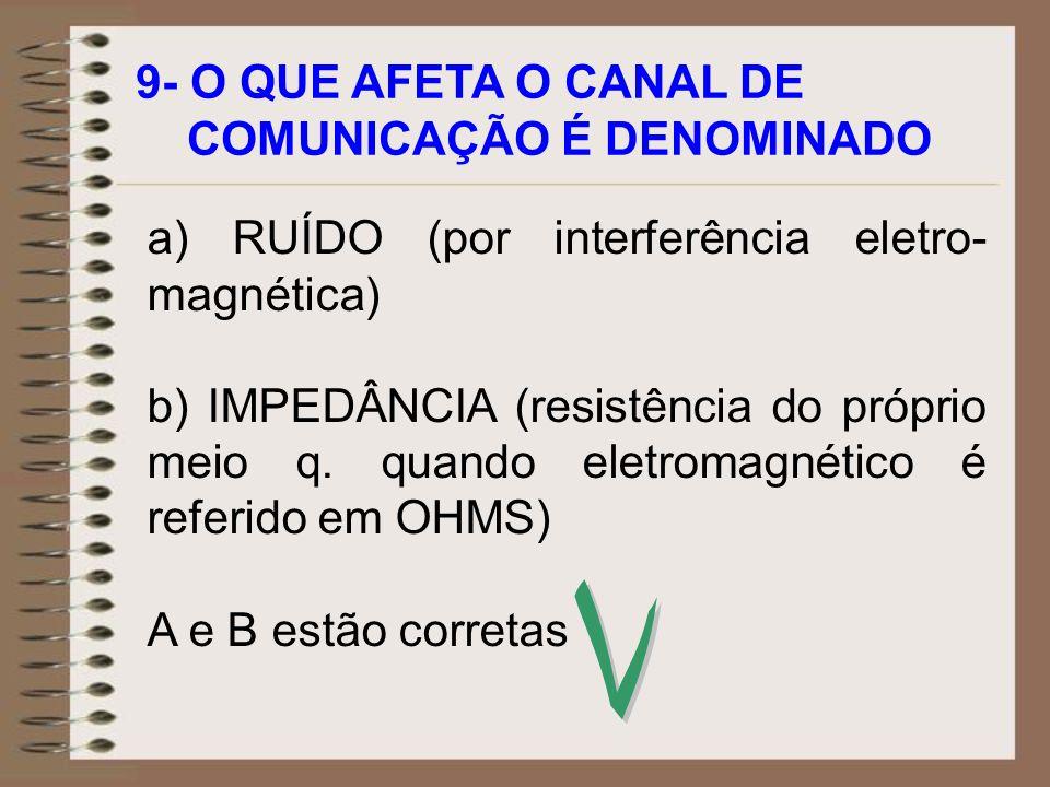 9- O QUE AFETA O CANAL DE COMUNICAÇÃO É DENOMINADO a) RUÍDO (por interferência eletro- magnética) b) IMPEDÂNCIA (resistência do próprio meio q. quando