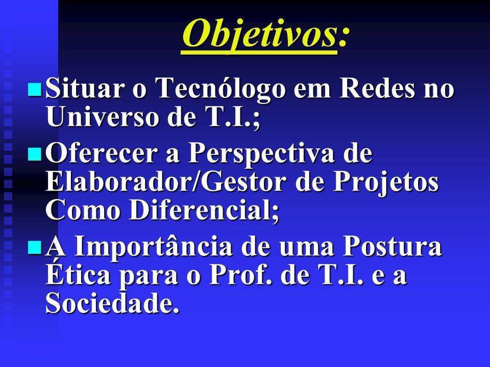 Objetivos: n Situar o Tecnólogo em Redes no Universo de T.I.; n Oferecer a Perspectiva de Elaborador/Gestor de Projetos Como Diferencial; n A Importân