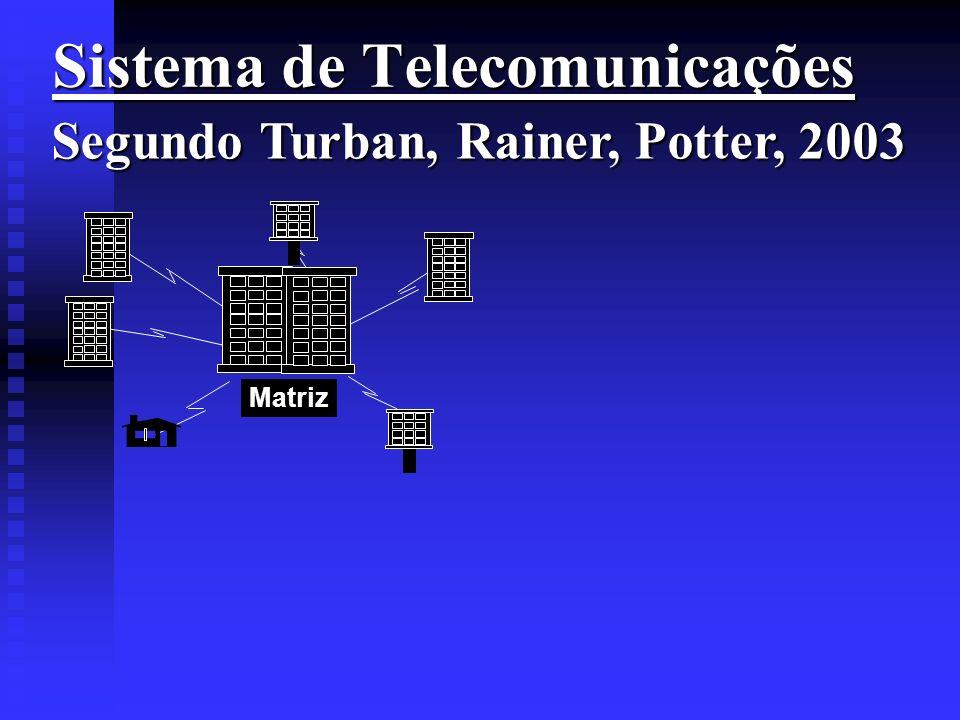 Sistema de Telecomunicações Sistema de Telecomunicações Segundo Turban, Rainer, Potter, 2003 Matriz