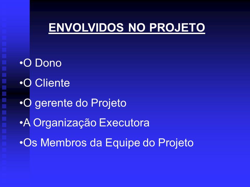 ENVOLVIDOS NO PROJETO O Dono O Cliente O gerente do Projeto A Organização Executora Os Membros da Equipe do Projeto