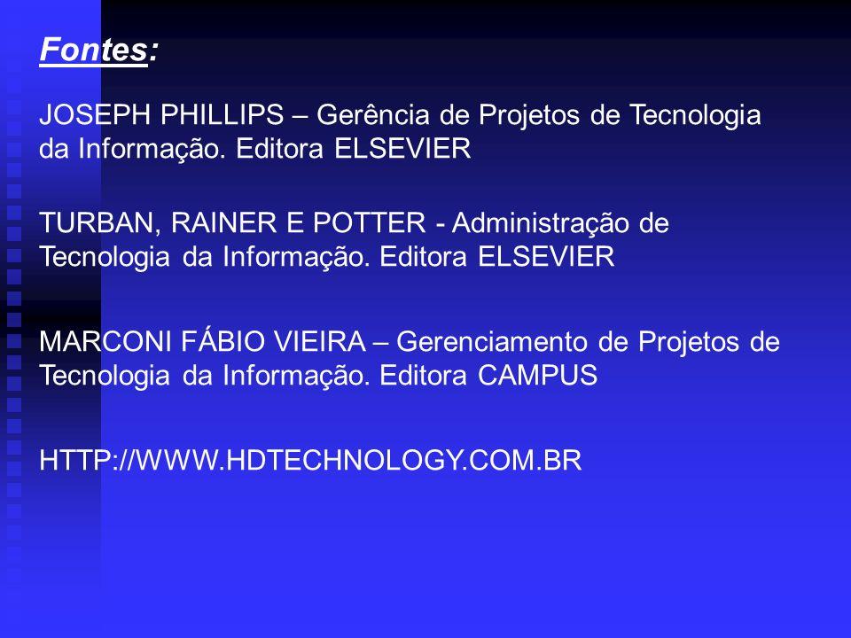 Fontes: JOSEPH PHILLIPS – Gerência de Projetos de Tecnologia da Informação. Editora ELSEVIER TURBAN, RAINER E POTTER - Administração de Tecnologia da