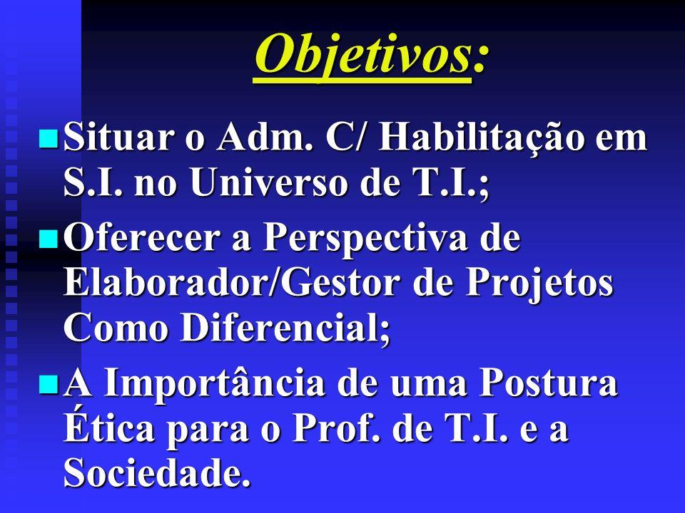 Objetivos: n Situar o Adm. C/ Habilitação em S.I. no Universo de T.I.; n Oferecer a Perspectiva de Elaborador/Gestor de Projetos Como Diferencial; n A