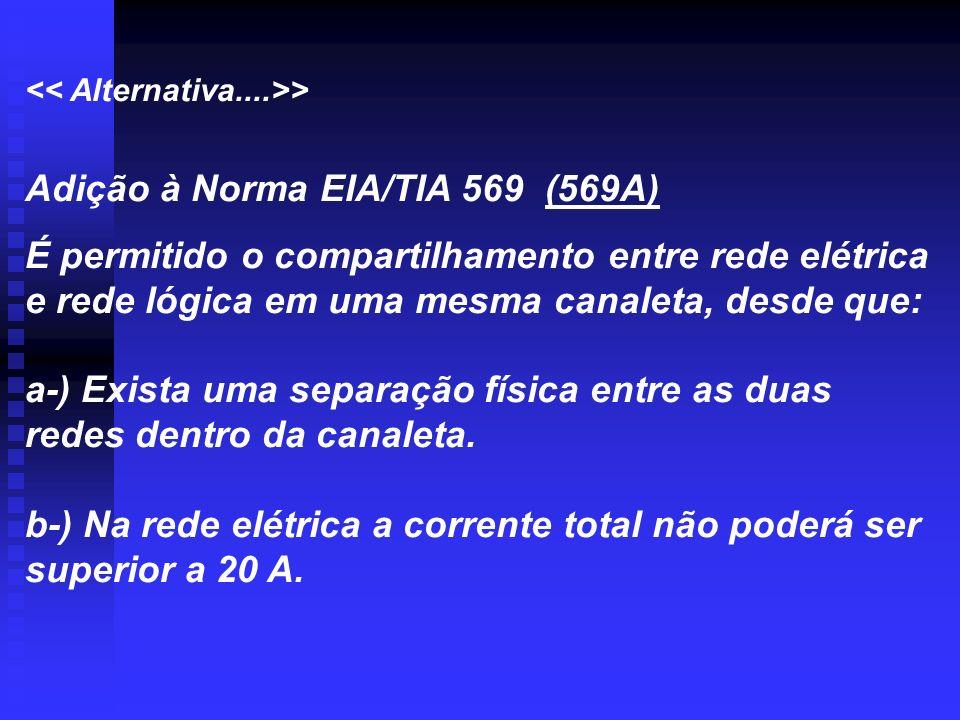 > Adição à Norma EIA/TIA 569 (569A) É permitido o compartilhamento entre rede elétrica e rede lógica em uma mesma canaleta, desde que: a-) Exista uma
