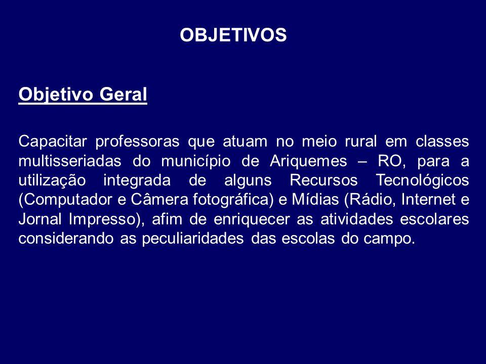 OBJETIVOS Objetivo Geral Capacitar professoras que atuam no meio rural em classes multisseriadas do município de Ariquemes – RO, para a utilização int