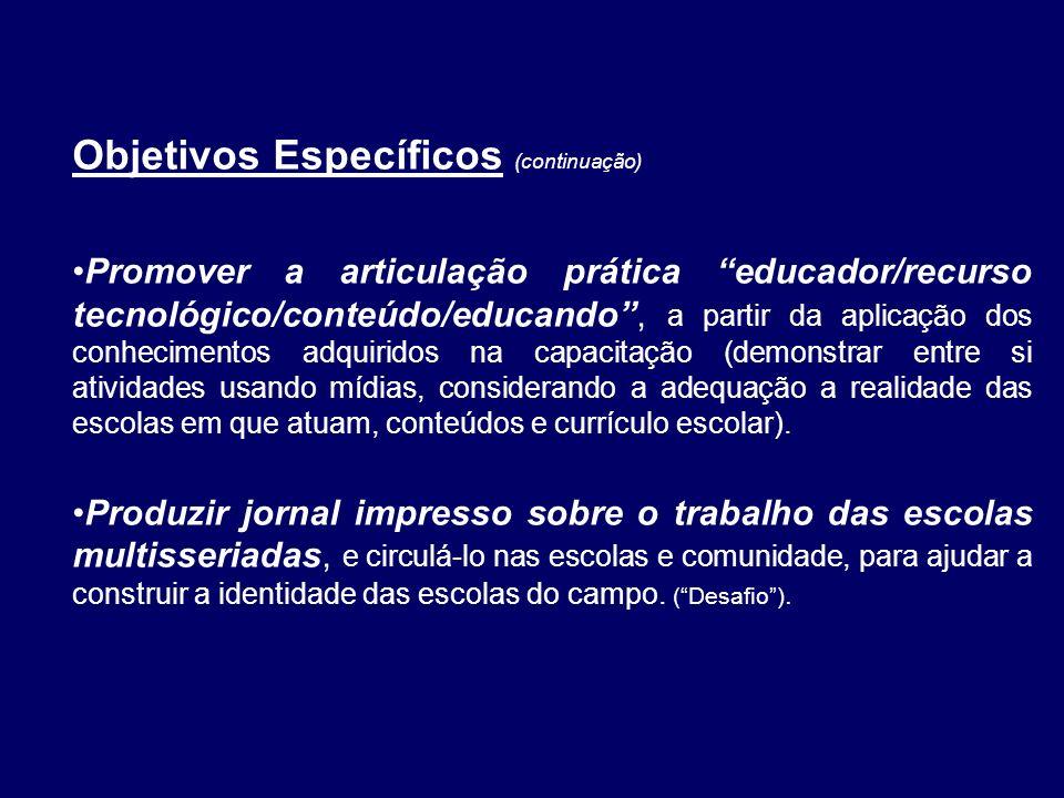 Objetivos Específicos (continuação) Promover a articulação prática educador/recurso tecnológico/conteúdo/educando, a partir da aplicação dos conhecime