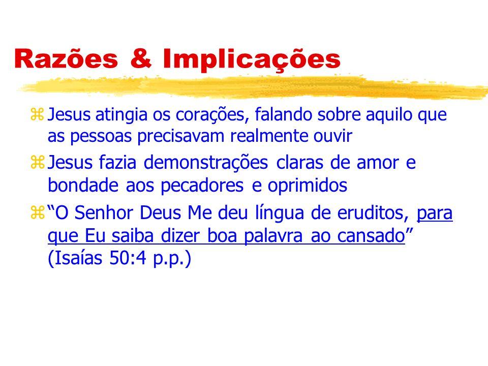 Razões & Implicações zNão esmagará a cana quebrada, nem apagará a torcida que fumega (Isaías 42:3).