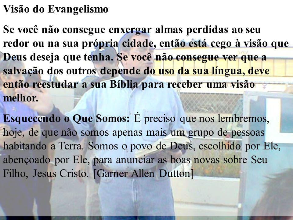 Visão do Evangelismo Se você não consegue enxergar almas perdidas ao seu redor ou na sua própria cidade, então está cego à visão que Deus deseja que t