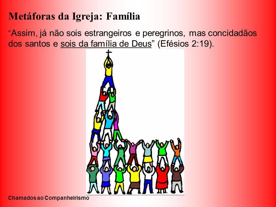 Metáforas da Igreja: Família Assim, já não sois estrangeiros e peregrinos, mas concidadãos dos santos e sois da família de Deus (Efésios 2:19). Chamad