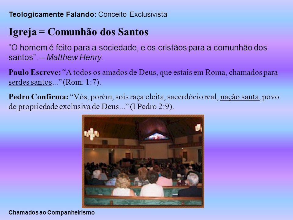 Teologicamente Falando: Conceito Exclusivista Igreja = Comunhão dos Santos O homem é feito para a sociedade, e os cristãos para a comunhão dos santos.