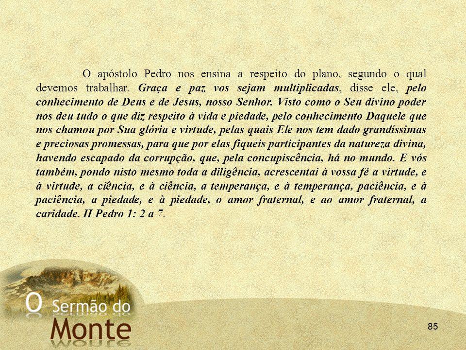 85 O apóstolo Pedro nos ensina a respeito do plano, segundo o qual devemos trabalhar. Graça e paz vos sejam multiplicadas, disse ele, pelo conheciment