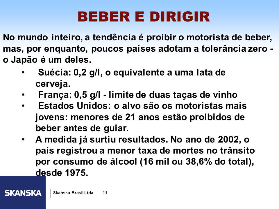 11 Skanska Brasil Ltda 11 No mundo inteiro, a tendência é proibir o motorista de beber, mas, por enquanto, poucos países adotam a tolerância zero - o