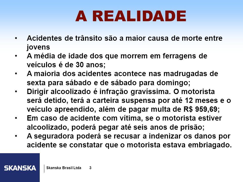 3 Skanska Brasil Ltda 3 A REALIDADE Acidentes de trânsito são a maior causa de morte entre jovens A média de idade dos que morrem em ferragens de veíc