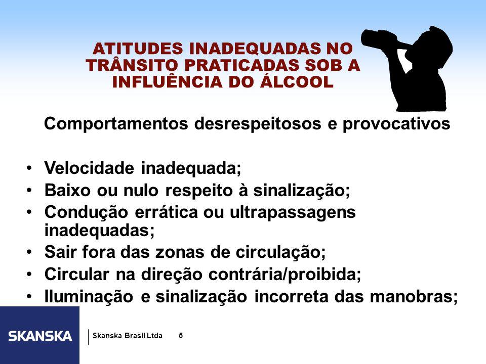 5 Skanska Brasil Ltda 5 ATITUDES INADEQUADAS NO TRÂNSITO PRATICADAS SOB A INFLUÊNCIA DO ÁLCOOL Comportamentos desrespeitosos e provocativos Velocidade
