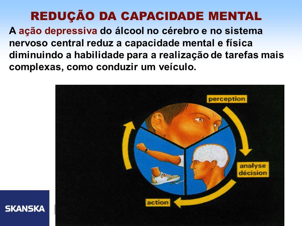 8 Skanska Brasil Ltda 8 A ação depressiva do álcool no cérebro e no sistema nervoso central reduz a capacidade mental e física diminuindo a habilidade
