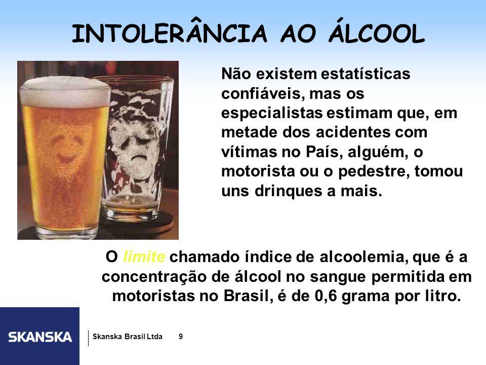 10 Skanska Brasil Ltda 10 A MEDIDA DO RISCO 0,2 a 0,3g p/litro de sangue Percepção da distância e velocidade prejudicadas.