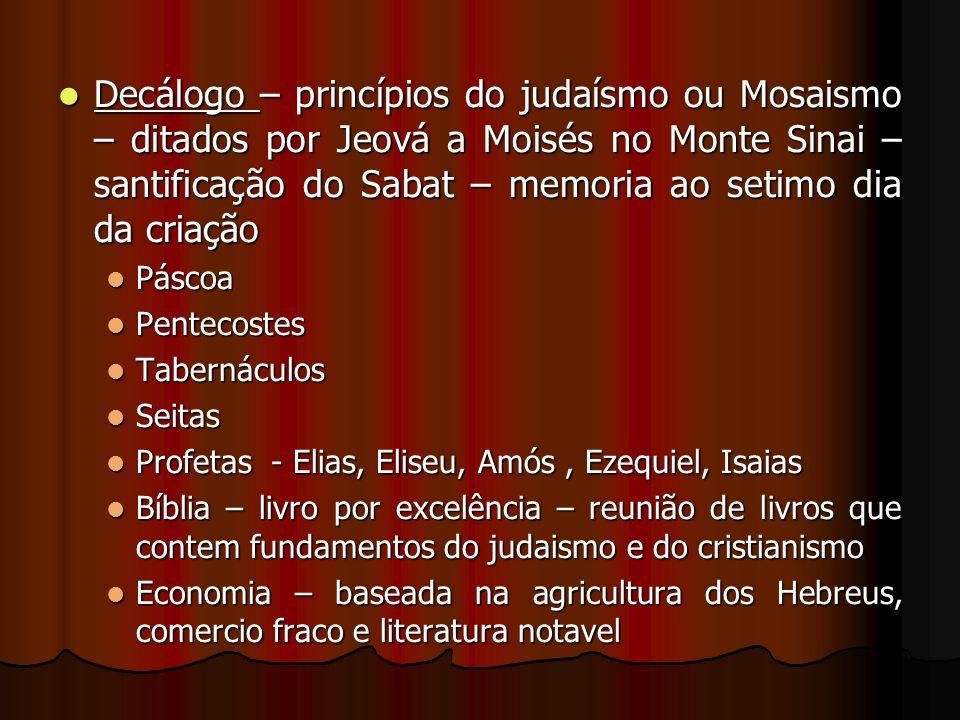 Decálogo – princípios do judaísmo ou Mosaismo – ditados por Jeová a Moisés no Monte Sinai – santificação do Sabat – memoria ao setimo dia da criação D