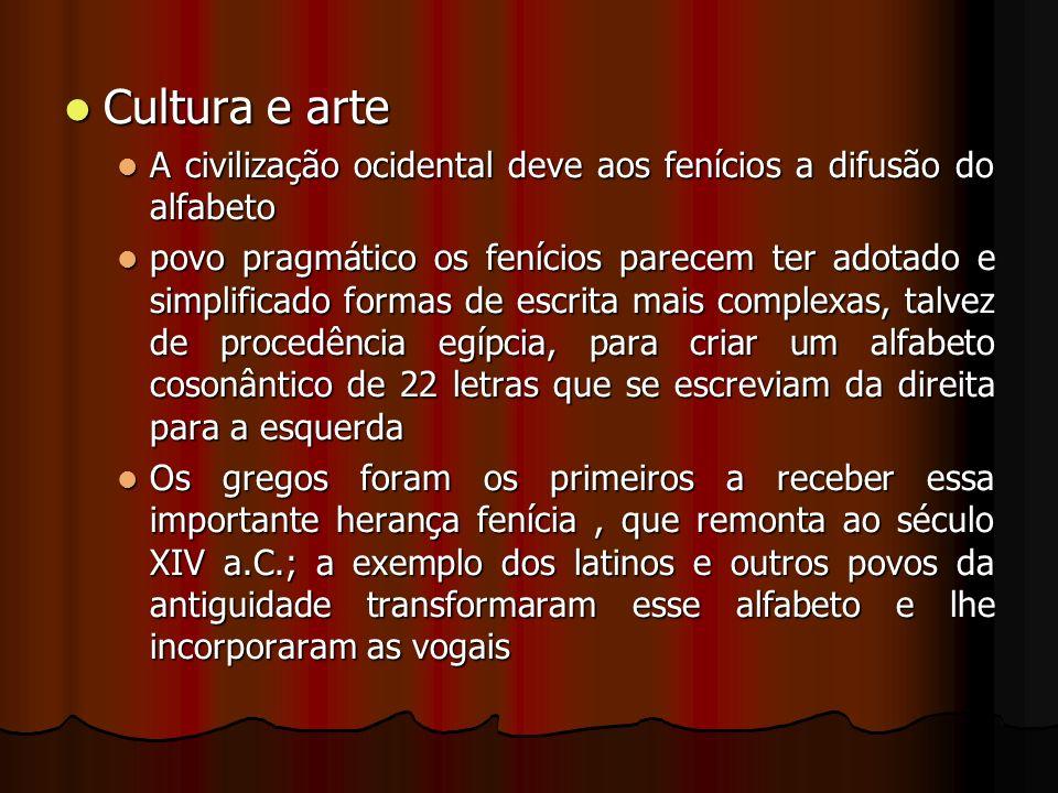 Cultura e arte Cultura e arte A civilização ocidental deve aos fenícios a difusão do alfabeto A civilização ocidental deve aos fenícios a difusão do a