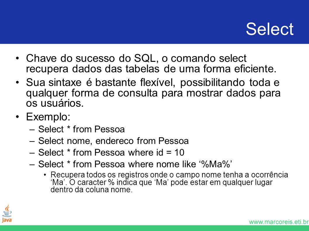 Select Chave do sucesso do SQL, o comando select recupera dados das tabelas de uma forma eficiente. Sua sintaxe é bastante flexível, possibilitando to