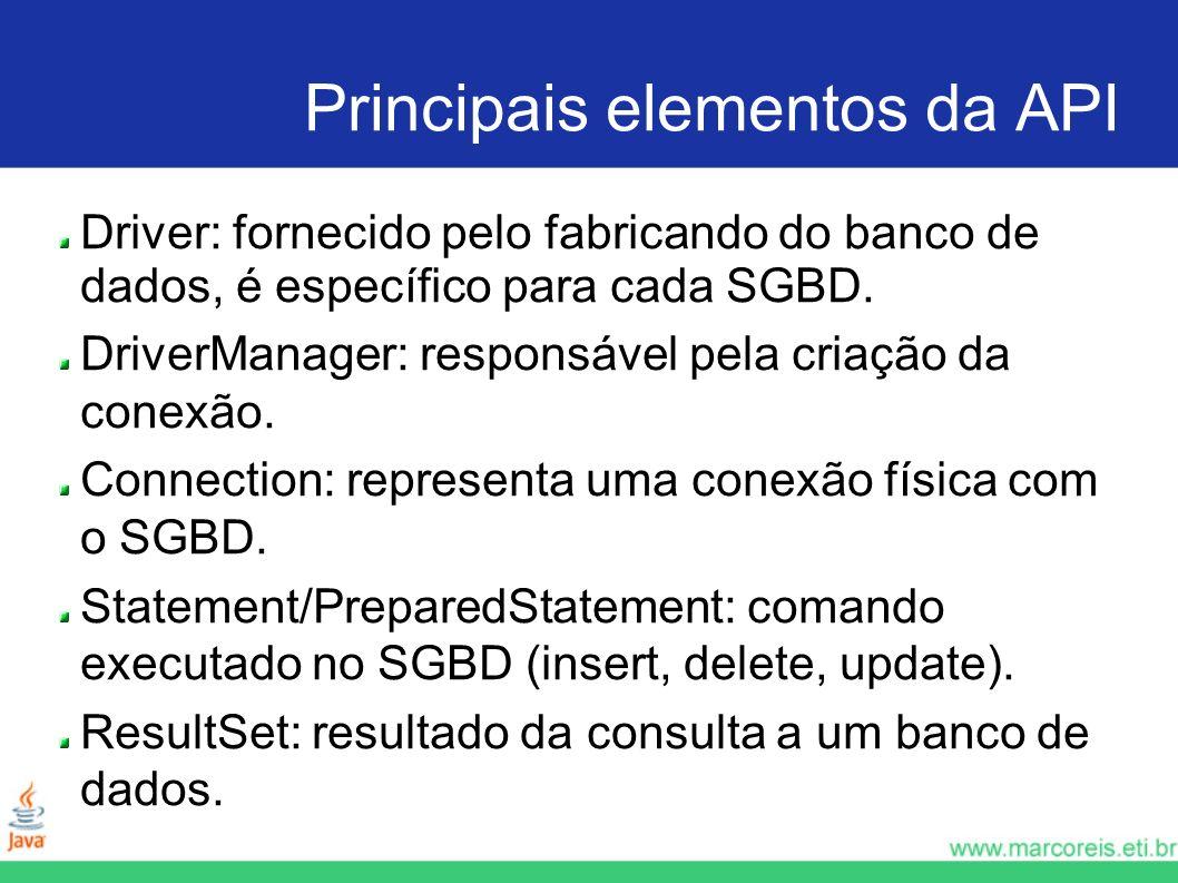 Principais elementos da API Driver: fornecido pelo fabricando do banco de dados, é específico para cada SGBD. DriverManager: responsável pela criação