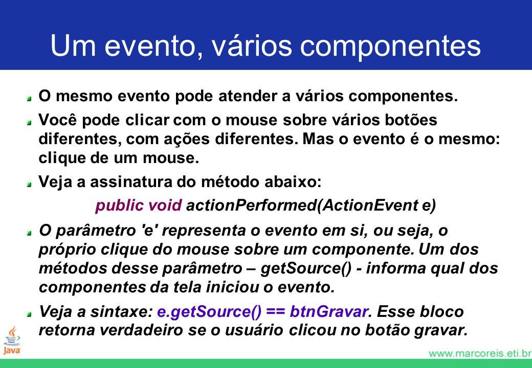 Um evento, vários componentes O mesmo evento pode atender a vários componentes. Você pode clicar com o mouse sobre vários botões diferentes, com ações