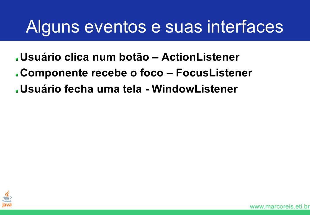 Alguns eventos e suas interfaces Usuário clica num botão – ActionListener Componente recebe o foco – FocusListener Usuário fecha uma tela - WindowList