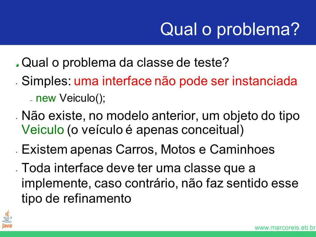Qual o problema? Qual o problema da classe de teste? Simples: uma interface não pode ser instanciada – new Veiculo(); Não existe, no modelo anterior,