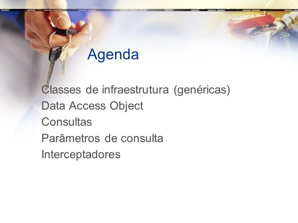 Agenda Classes de infraestrutura (genéricas) Data Access Object Consultas Parâmetros de consulta Interceptadores