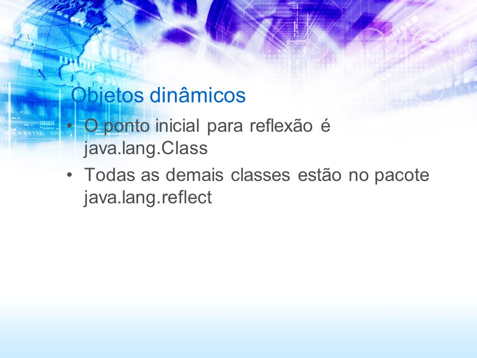 ClasseReflexiva package net.javabasico.reflexao; public class ClasseReflexiva { public void executaUmMetodo() { System.out.println( Executei um método ); }