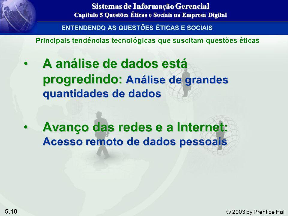 5.10 © 2003 by Prentice Hall A análise de dados está progredindo: Análise de grandes quantidades de dadosA análise de dados está progredindo: Análise