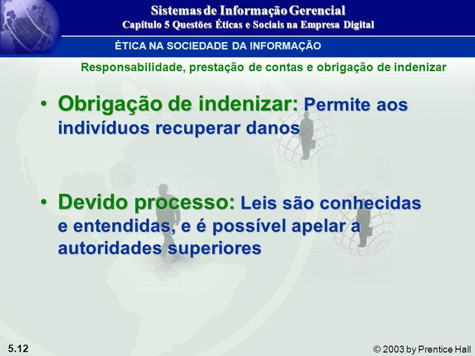 5.12 © 2003 by Prentice Hall Obrigação de indenizar: Permite aos indivíduos recuperar danosObrigação de indenizar: Permite aos indivíduos recuperar da
