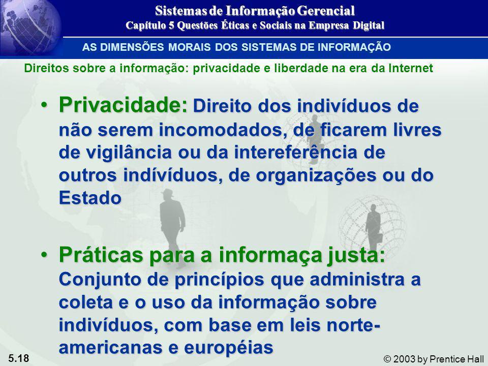 5.18 © 2003 by Prentice Hall Direitos sobre a informação: privacidade e liberdade na era da Internet Privacidade: Direito dos indivíduos de não serem