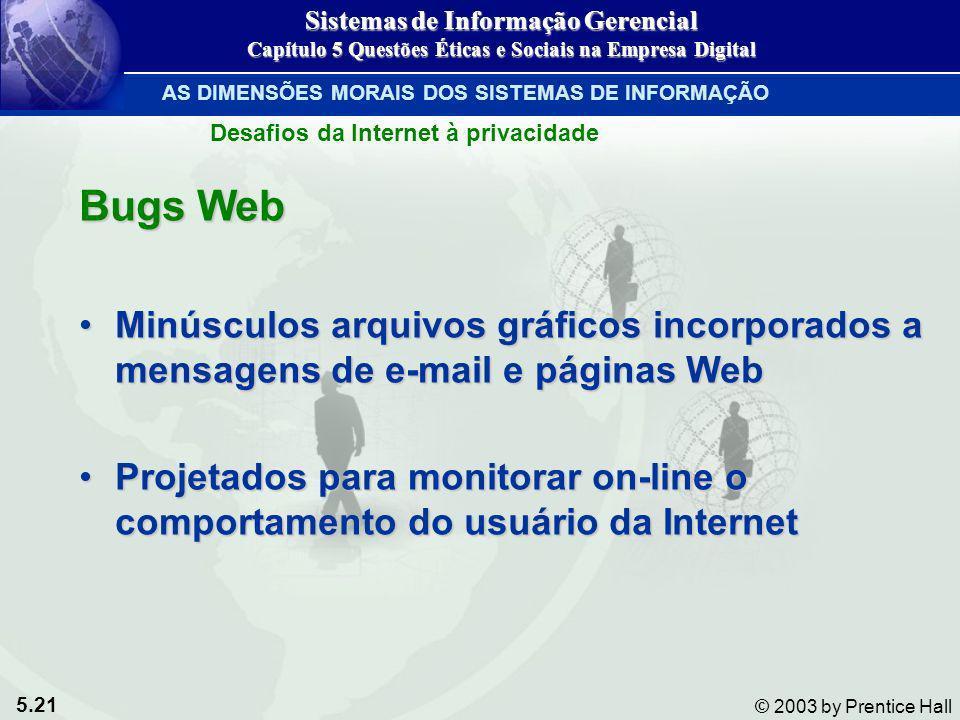 5.21 © 2003 by Prentice Hall Bugs Web Minúsculos arquivos gráficos incorporados a mensagens de e-mail e páginas WebMinúsculos arquivos gráficos incorp