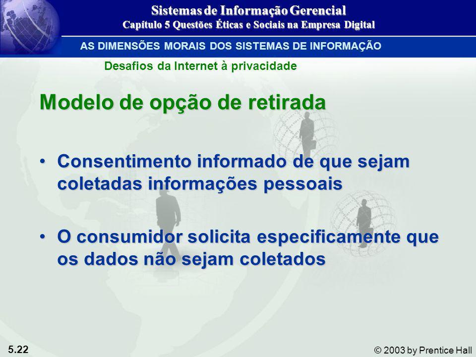5.22 © 2003 by Prentice Hall Modelo de opção de retirada Consentimento informado de que sejam coletadas informações pessoaisConsentimento informado de