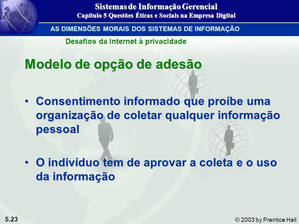 5.23 © 2003 by Prentice Hall Modelo de opção de adesão Consentimento informado que proíbe uma organização de coletar qualquer informação pessoalConsen