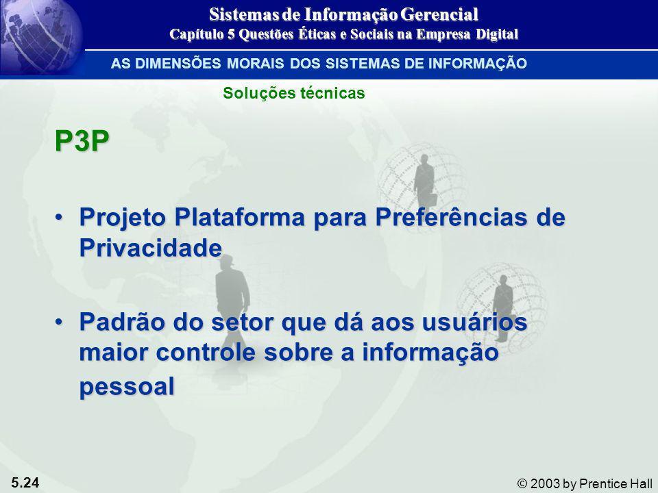 5.24 © 2003 by Prentice Hall P3P Projeto Plataforma para Preferências de PrivacidadeProjeto Plataforma para Preferências de Privacidade Padrão do seto