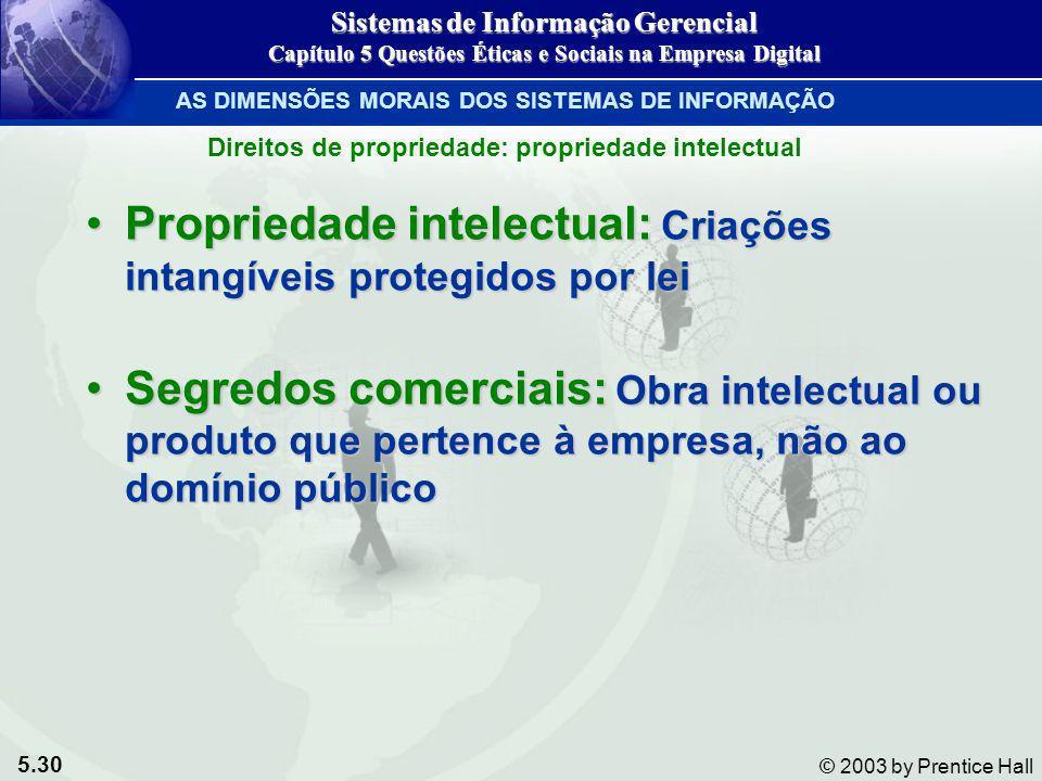 5.30 © 2003 by Prentice Hall Propriedade intelectual: Criações intangíveis protegidos por leiPropriedade intelectual: Criações intangíveis protegidos